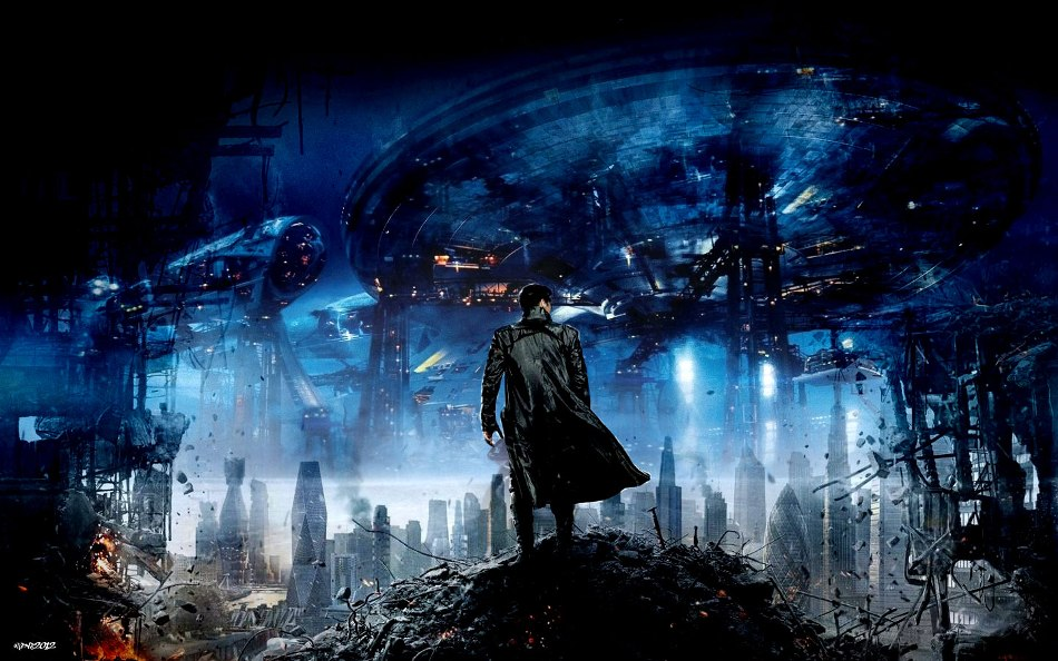 Star Trek Into Darkness wallpaper of Kahn and ruins of San Francisco and the Enteprise