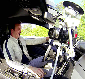 Need for Speed star Aaron Paul with camera mount
