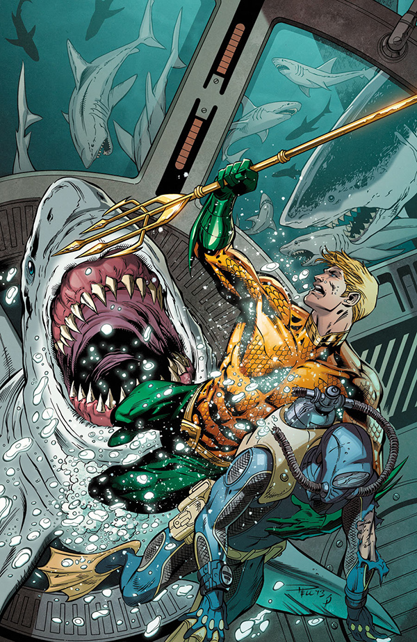 Aquaman fighting sharks and rescuing a diver