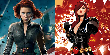 Black Widow costume in the movies versus the comic book