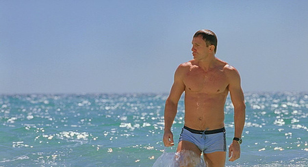 Daniel Craig as James Bond in Casino Royale in blue bathing suit in Nassau, Bahamas