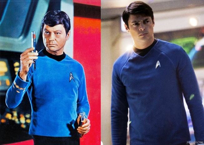 comparison of DeForrest Kelley and Karl Urban as Star Trek Doctor Leonard McCoy