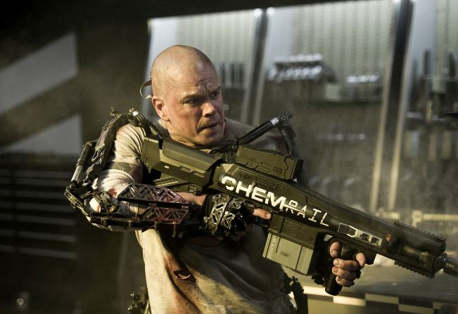 Matt Damon with weapon from Elysium