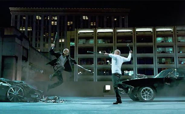 Vin Diesel fighting Jason Statham in Furious Seven
