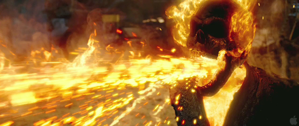 Ghost Rider 2: Spirit of Vengeance the rider spits back bullets