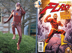 The Flash TV Show star Grant Gustin in costume versus The Flash comic book cover