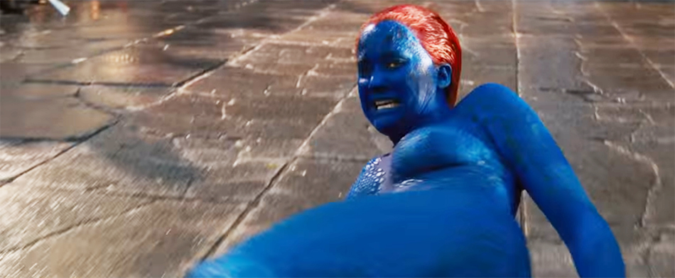Jennifer Lawrence as Mystique basically naked and being dragged down the street