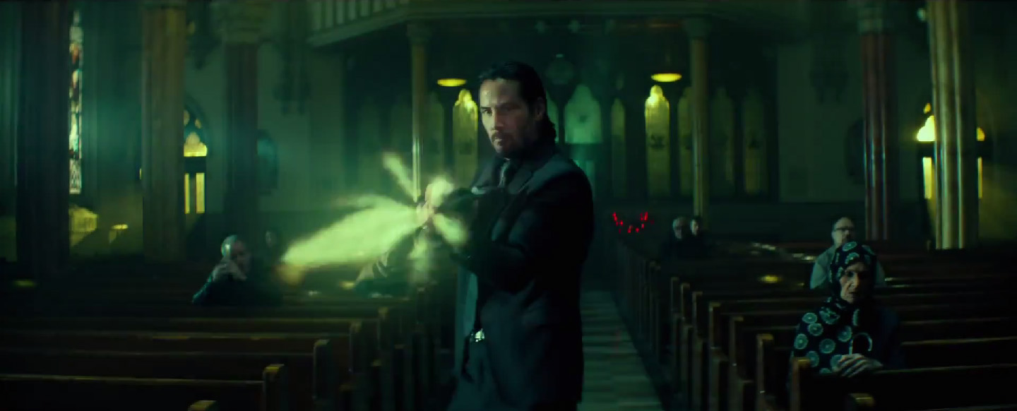 Keanu Reeves as John Wick shooting in a church