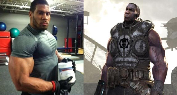 photo of LaRon Landry next to drawing of Augustus Cole from Gears of War