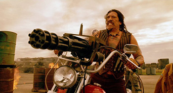 Machete with motorcycle gun