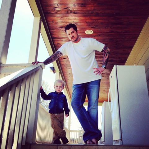 Marcus  				Luttrell with his son Axe