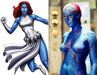 Mystique comic book costume versus naked movie version