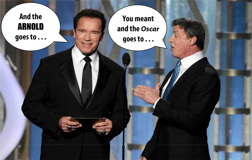 Arnold Schwarzenegger and Sylvester Stallone host the Oscars