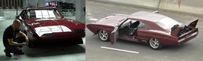 burgundy colored Plymouth Superbird from Fast & Furious 6