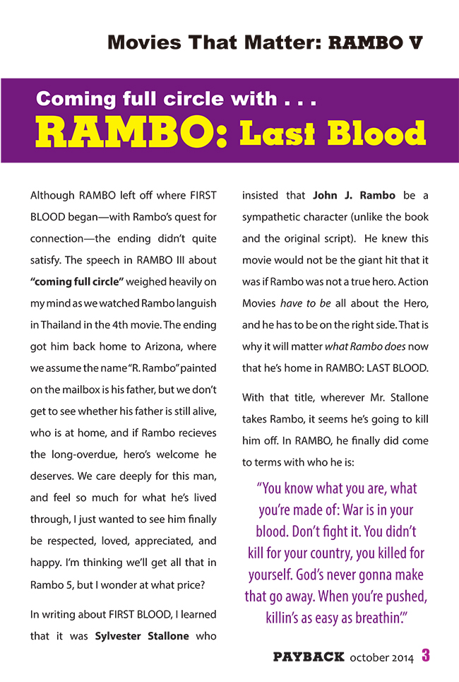 Movies That Matter: Rambo V a story in PAYBACK action movie magazine by actionmoviefreak.com