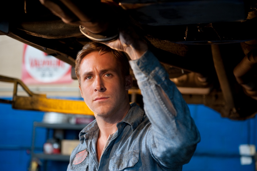 Ryan Gosling in Drive in blue mechanic's suit