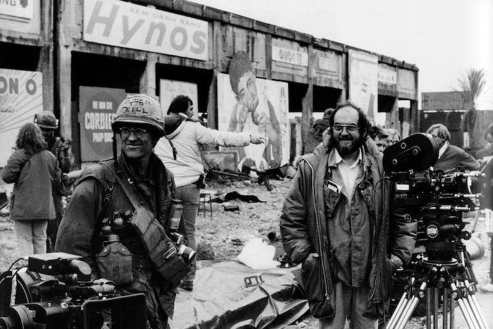 a photo of Stanley Kubrick filming Full Metal Jacket during the Vietnam part of the film