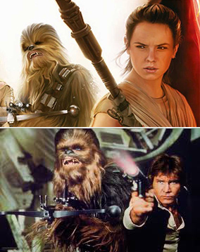 Chewie and Han and Chewie and Rey