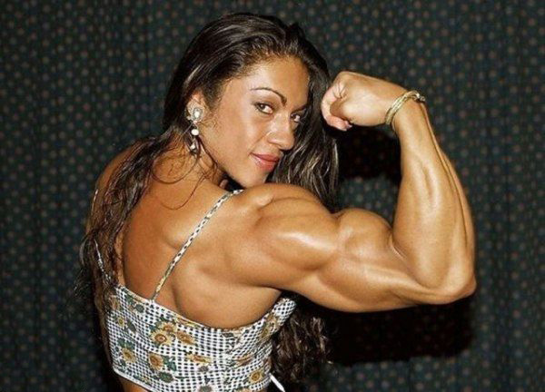 woman flexing massive arms