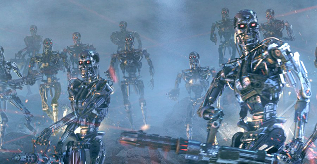 terminator robots in the war again men