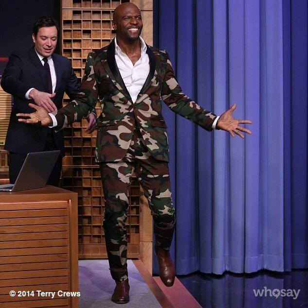 Terry Crews in camo suit