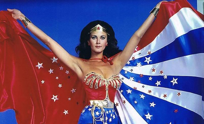 Lynda Carter in colorful Wonder Woman costume and cape