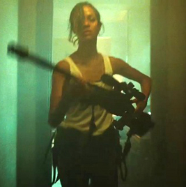 Zoe Saldana with big gun from Colombiana