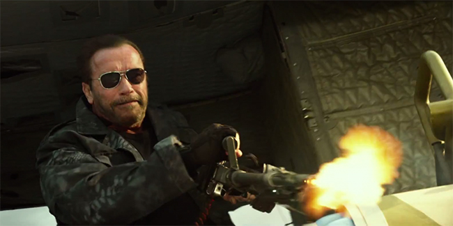 Arnold Schwarzenegger shooting out of the helicopter in The Expendables 3