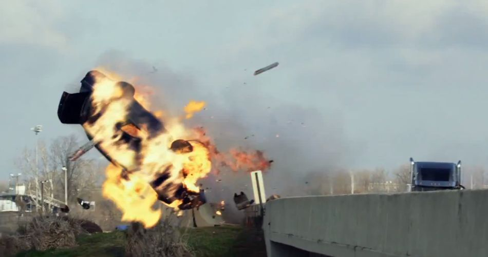 fiery crash from Snitch movie 2013