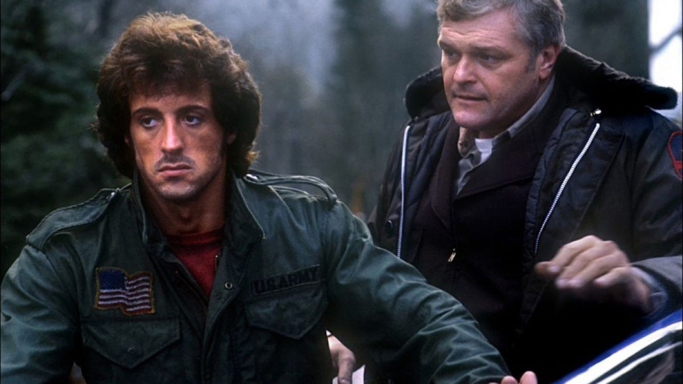 Rambo is arrested by Sheriff Teasle in First Blood