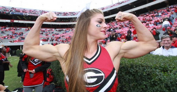 cheerleader with big biceps