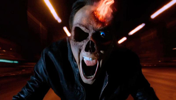 Ghost Rider Spirit of Vengeance Nicolas Cage's face morphing into the Rider
