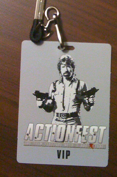 Actionfest 2010 VIP badge featuring Honoree Chuck Norris