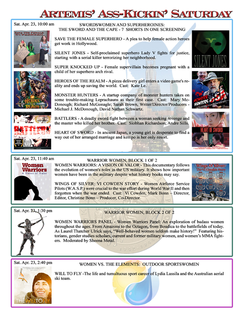 Artemis Women in Action Film Festival 2016 Program page 6