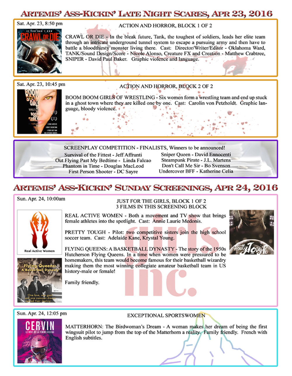 Artemis Women in Action Film Festival 2016 Program page 8