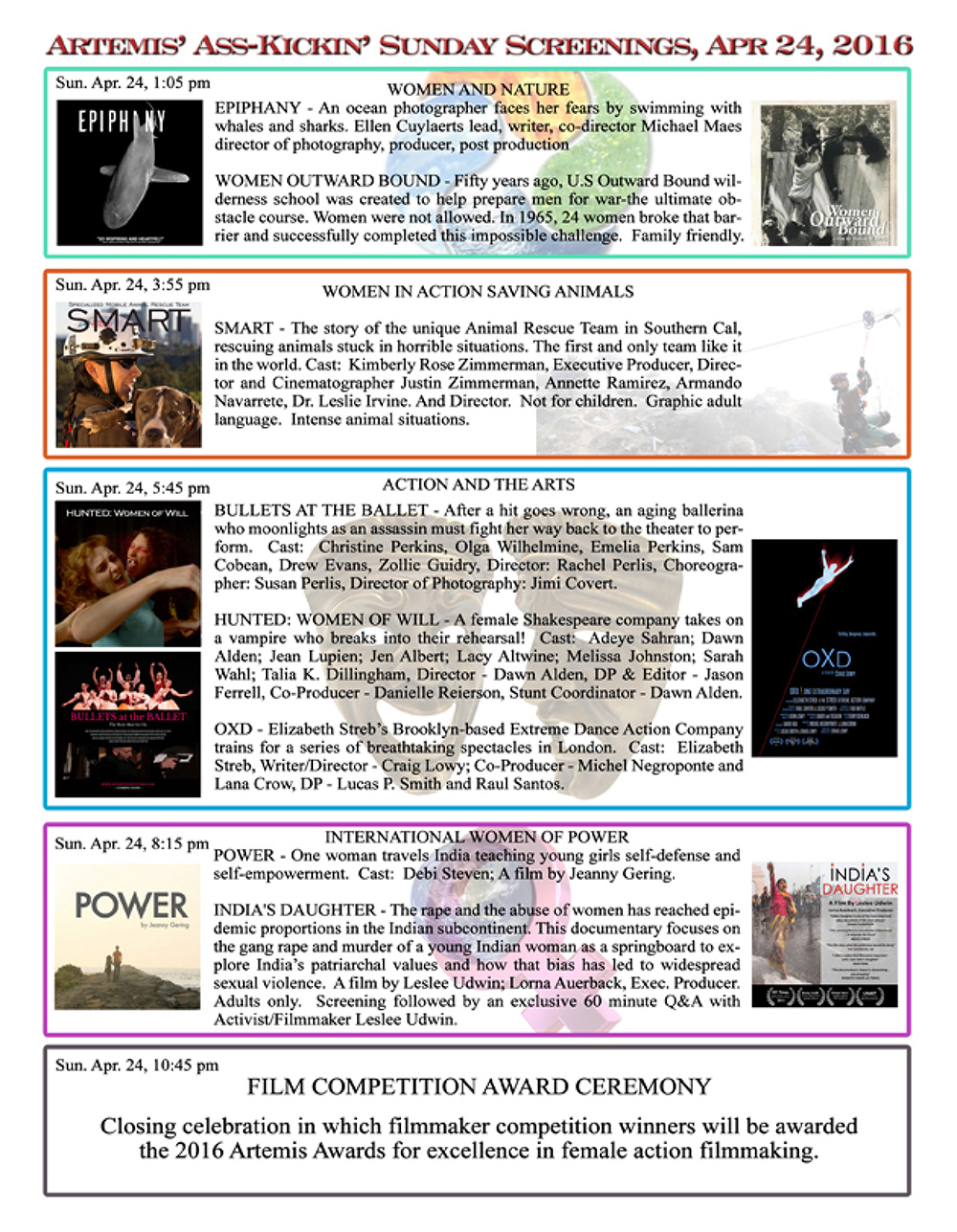 Artemis Women in Action Film Festival 2016 Program page 9