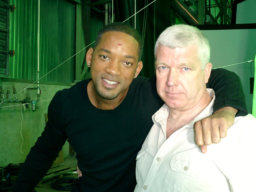 Andy Armstrong on the set of I,Robot with Will Smith