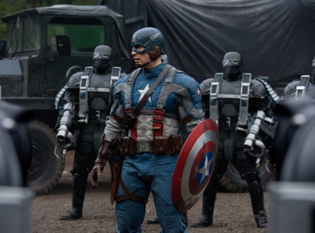 Captain American in outfit with shield