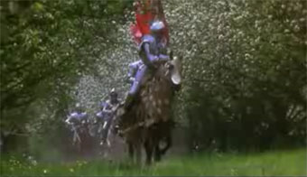 Excalibur cherry blossoms scene of knights riding to O Fortuna