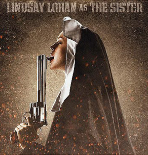 Lindsay Lohan dressed as a nun licking a gun in Machete