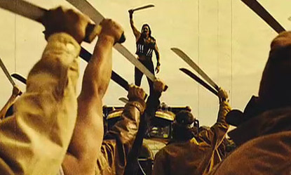 The vistory scene in Machete with machetes raised