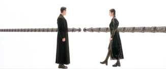 The Matrix movie Neo and Trinity arm up