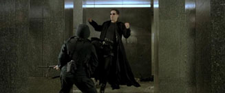 The Matrix movie Neo flying kick