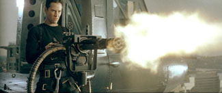 The Matrix movie Neo opens fire with Gatling gun