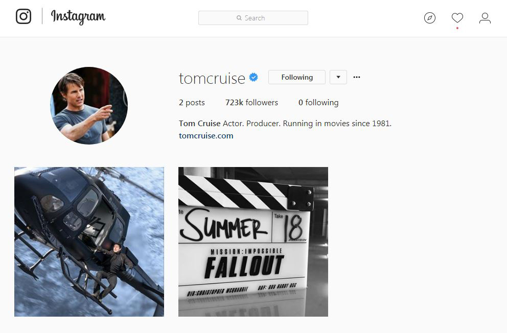 Tom Cruise is now on instagram