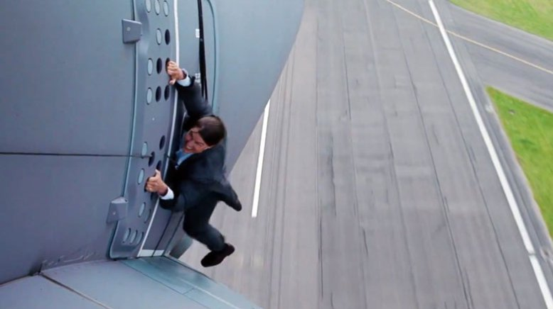 Tom Cruise strapped to a plane when it takes off for real in Mission Impossible Rouge Nation