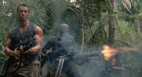 Predator movie epic moment when all the men are firing at once into the jungle
