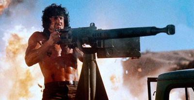Sylvester Stallone in Rambo III fires the anti-aircraft gun Dahaka 12.7 mm