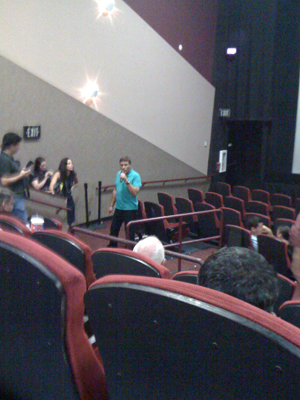 Steven Bauer talks to the audience at AMC Sunset Place in Miami during August 31 2011 showing of Scarface
