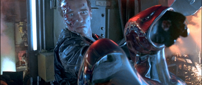the Model 101 punches through the head of the T-1000 in Terminator 2